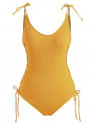 Lace Up Tie Shoulder Ribbed One-piece  Swimsuit -
