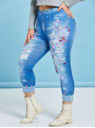 Plus Size 3D Ripped Jean Print Cropped Jeggings -