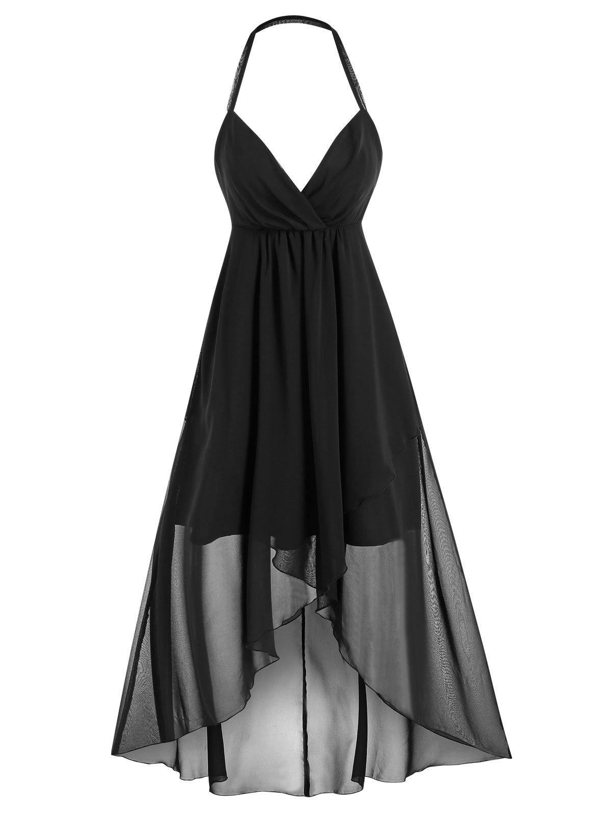 Outfit Halter Open Back High Low Midi Dress