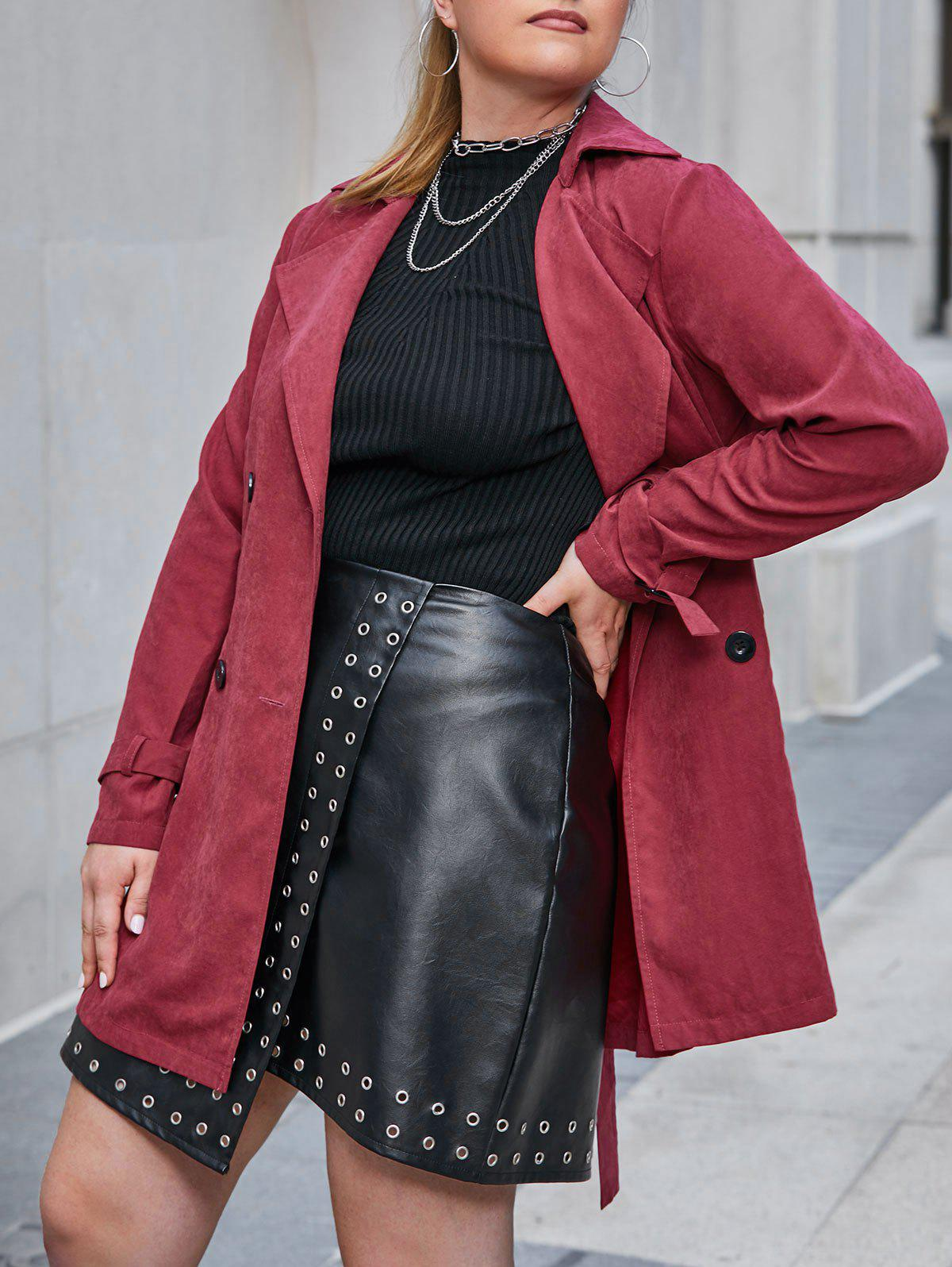 New Plus Size Double Breasted Belted Cuff Trench Tunic Coat