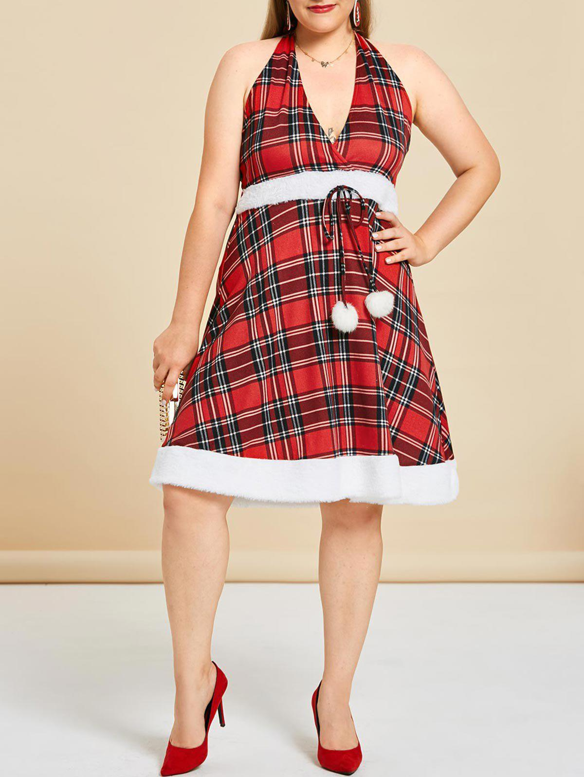 Discount Plus Size Faux Fur Insert Halter Plaid Dress