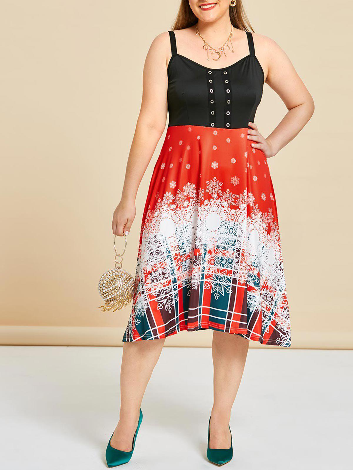 Sale Plus Size Christmas Snowflake Grommet Fit and Flare Dress