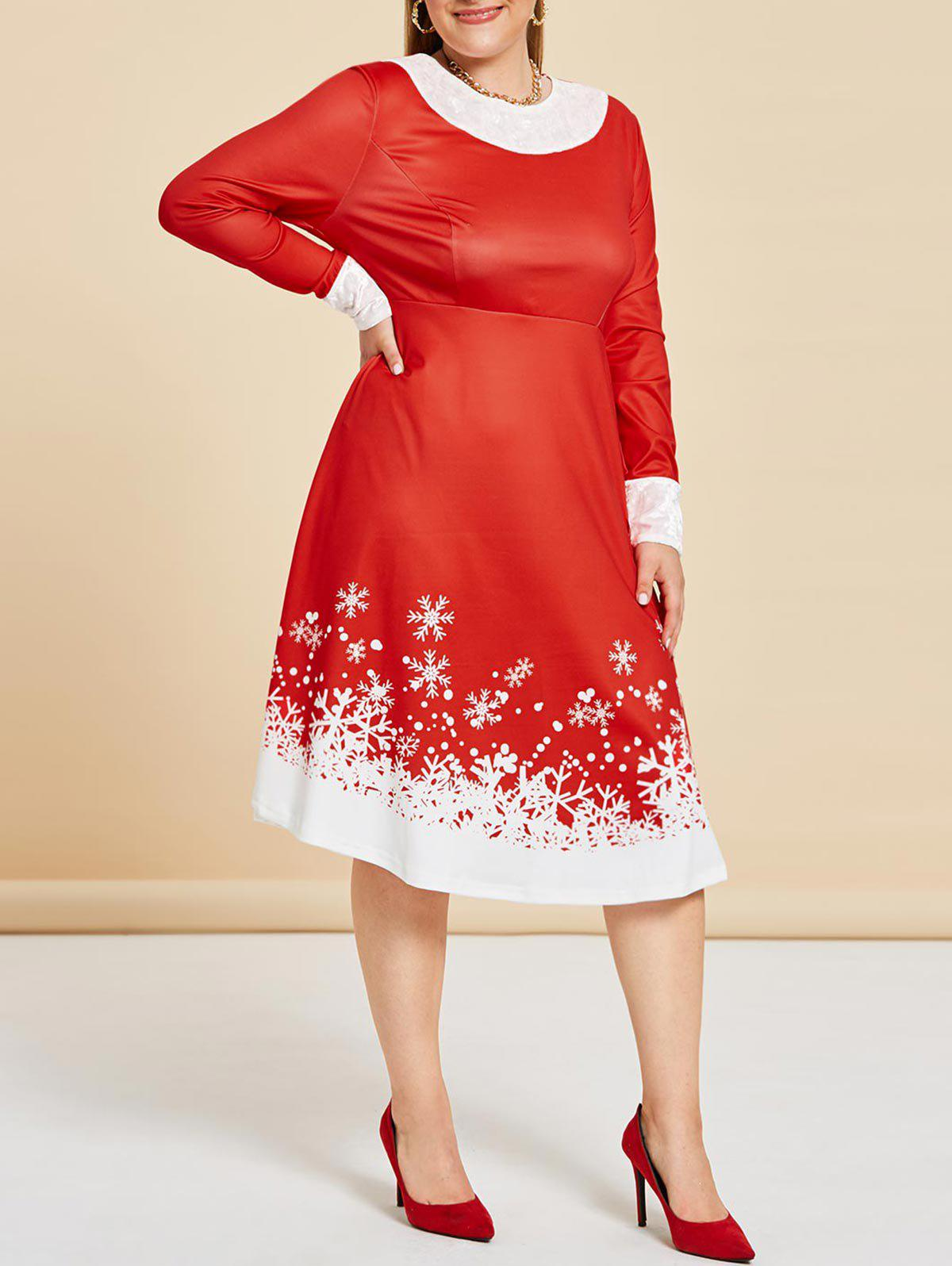 Discount Plus Size Christmas Snowflake A Line Velvet Panel Dress