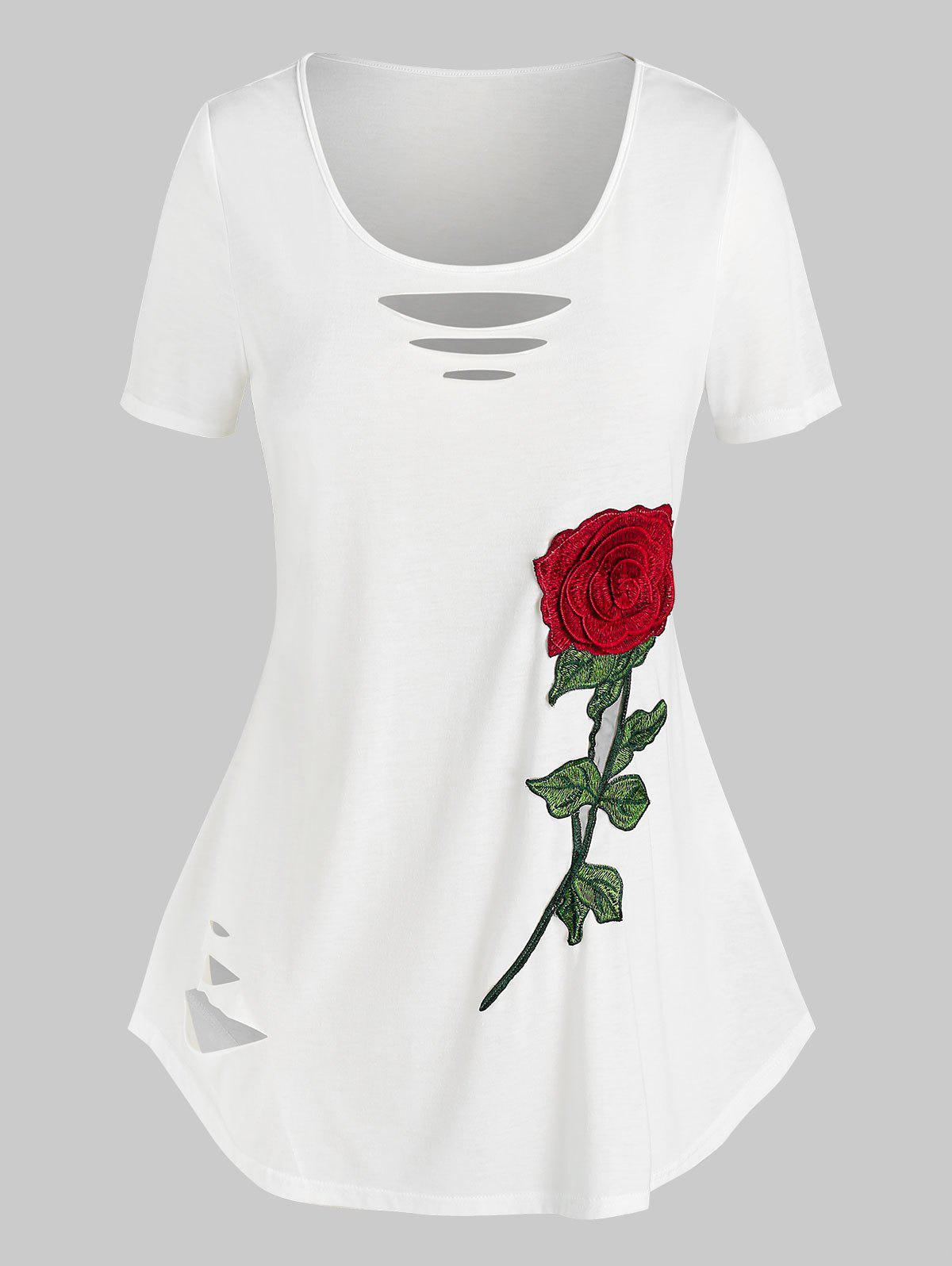 Cheap Plus Size Flower Embroidered Ripped Short Sleeve Tee