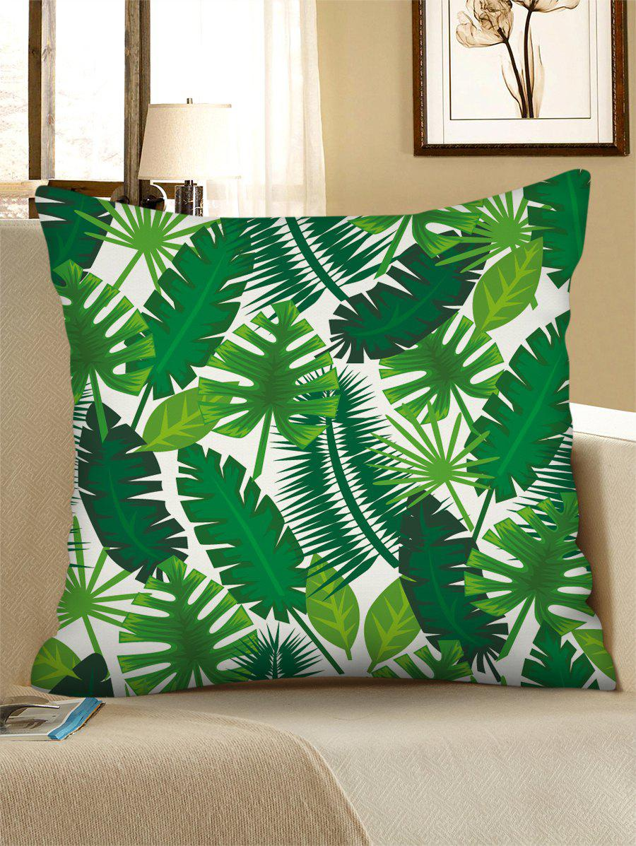 Best Printed Tropical Leaves Linen Square Pillowcase