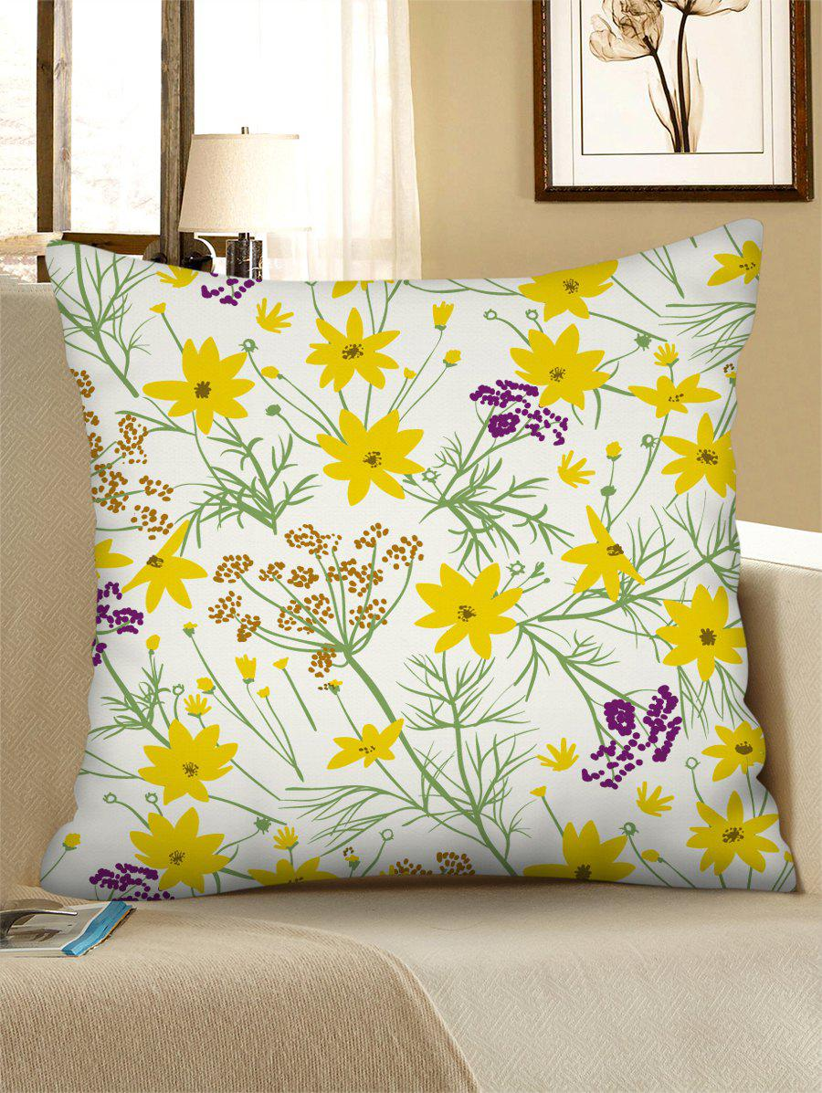 Discount Flower Printed Linen Square Pillowcase