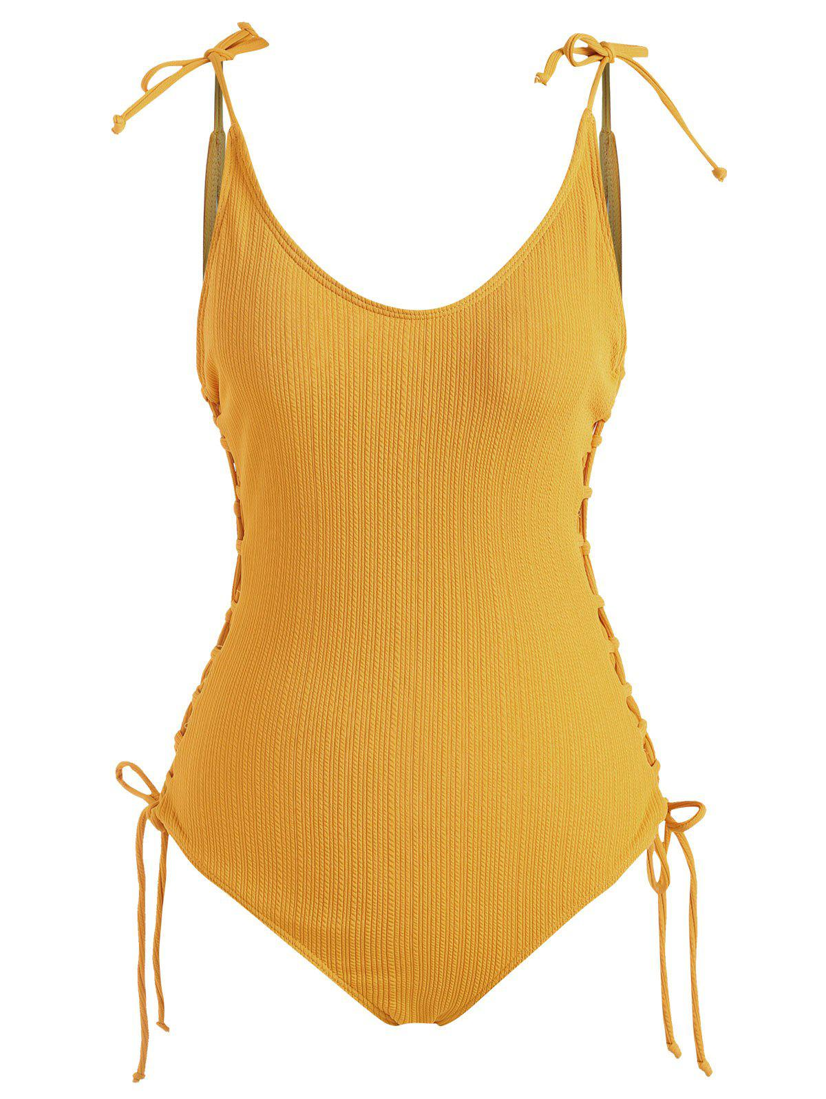Affordable Lace Up Tie Shoulder Ribbed One-piece  Swimsuit