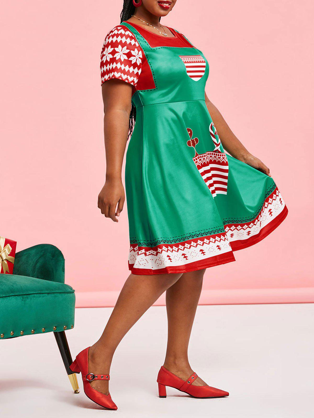New Plus Size Christmas 3D Print Fit and Flare Dress
