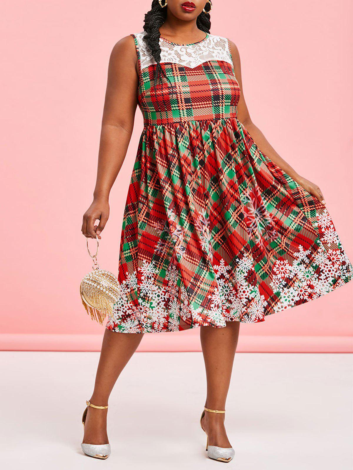 Fashion Plus Size Christmas Plaid Snowflake Print Dress