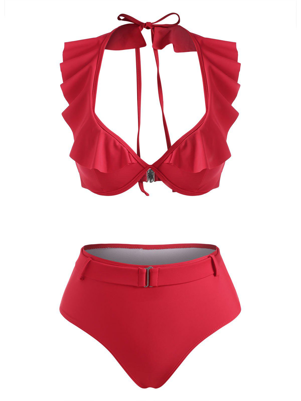 Hot Halter Ruffle Monowire Belted High Waisted Bikini Swimwear