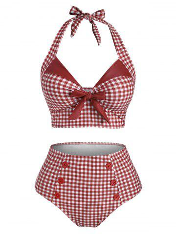 Gingham Bowknot Button Embellished Halter Tankini Swimwear - RED - L