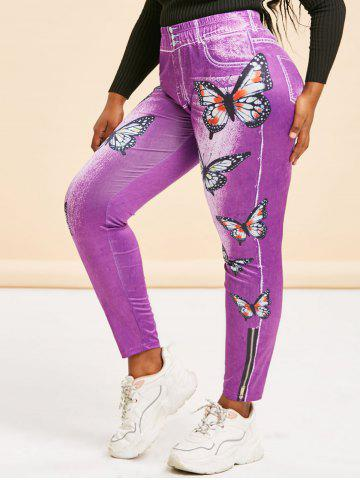 High Waisted 3D Print Butterfly Plus Size Jeggings - PURPLE - 4X