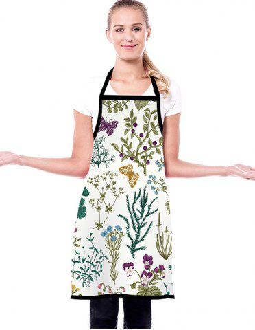 Butterfly Flowers Print Waterproof Kitchen Apron - CRYSTAL CREAM - 72*60CM