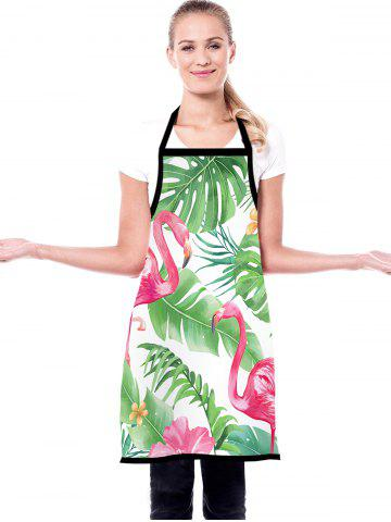 Tropical Leaves Flamingo Print Waterproof Kitchen Apron