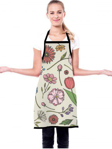 Hand-painted Flowers Pattern Waterproof Kitchen Apron