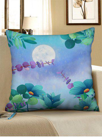 Moon Flower Printed Linen Square Pillowcase - MEDIUM TURQUOISE - W18 X L18 INCH