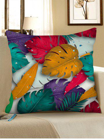 Retro Leaf Printed Linen Square Pillowcase - MULTI-A - W18 X L18 INCH