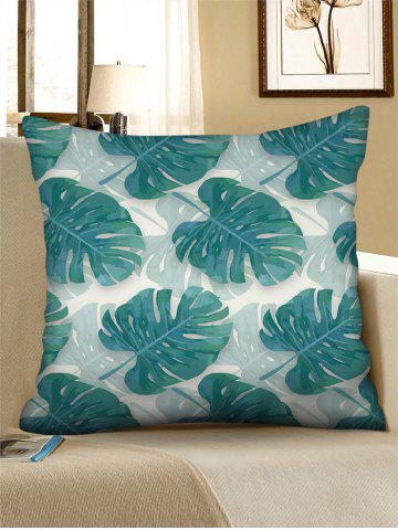 Printed Tropical Leaf Linen Square Pillowcase
