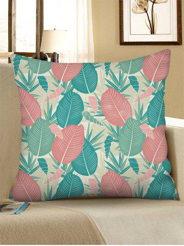 Retro Leaf Conch Print Linen Square Pillowcase - BLUE HOSTA - W18 X L18 INCH