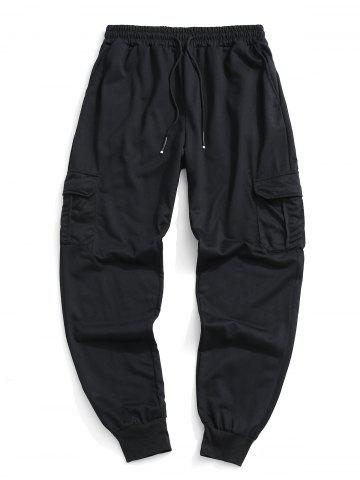 Pantalon de Jogging Simple avec Poche à Rabat - BLACK - 3XL