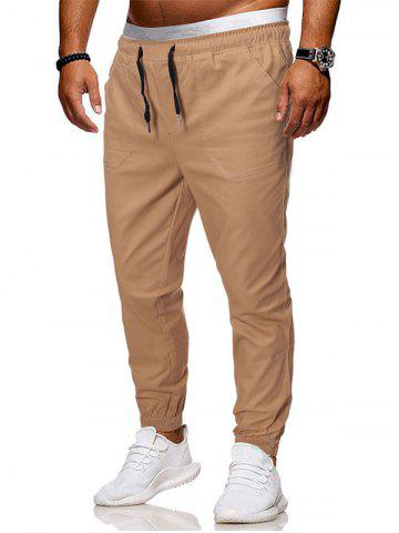 Pantalon Brodé Patch Bouteille à Pieds Etroits - LIGHT COFFEE - 3XL