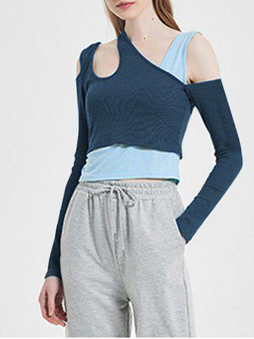 Ribbed Two Tone Asymmetrical Neck 2 in 1 T Shirt
