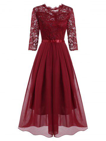 Lace and Chiffon Pleated Detail Floor Length Dress - RED - XL