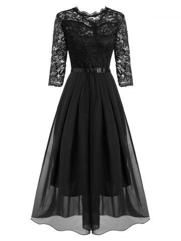 Lace and Chiffon Pleated Detail Floor Length Dress - BLACK - L