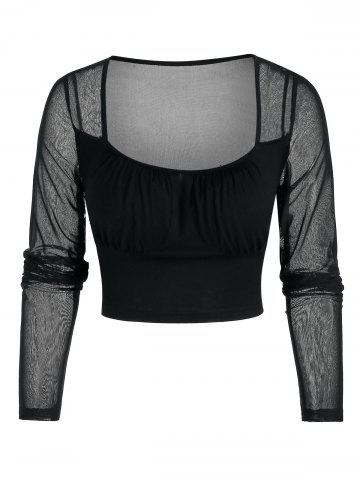 See Through Cropped Mesh Insert Top - BLACK - XL