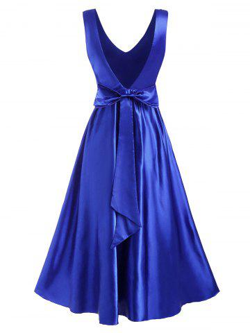 Bowknot Open Back Satin Ball Gown Dress - BLUE - XXL