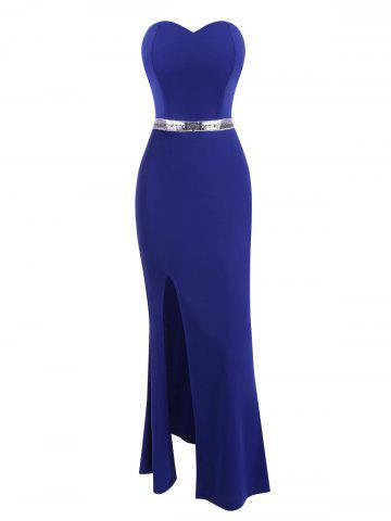 Strapless High Slit Sequined Waist Mermaid Dress - BLUE - XL