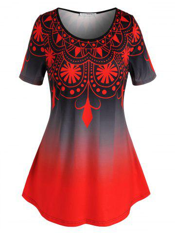 Plus Size Ombre Print Short Sleeve Tunic T-shirt - RED - L