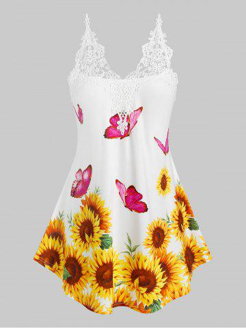 Plus Size Sunflower Butterfly Pattern Applique Panel Backless Top - YELLOW - 3X