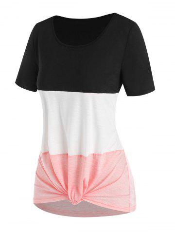 Colorblock Knotted Casual T Shirt - LIGHT PINK - XXXL