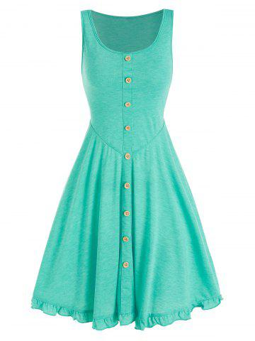 Mock Button Mini A Line Dress