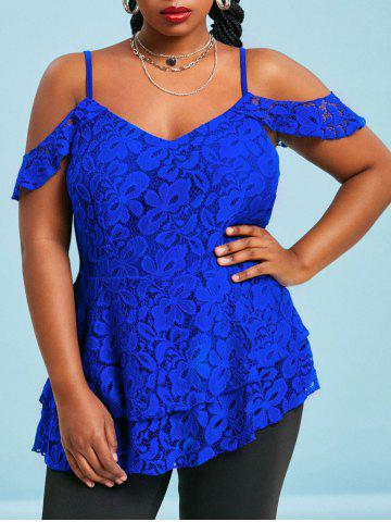 Cold Shoulder Layered Hem Plus Size Lace Blouse