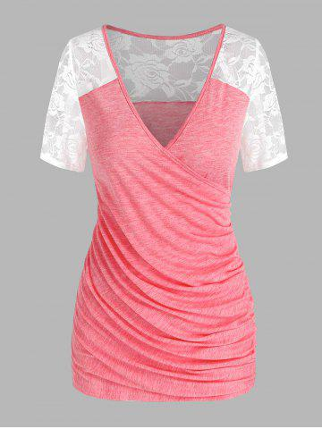 Lace Insert Ruched Surplice Tee - LIGHT PINK - XXL
