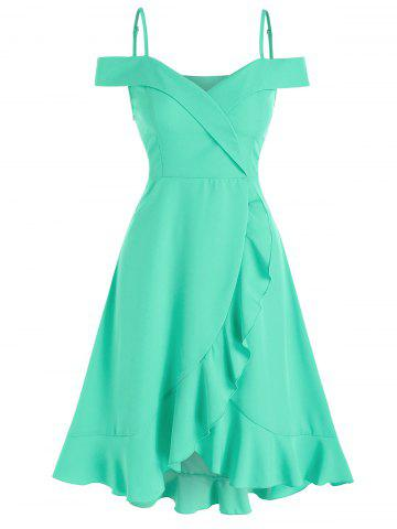 Ruffle Hem Cold Shoulder Surplice Dress