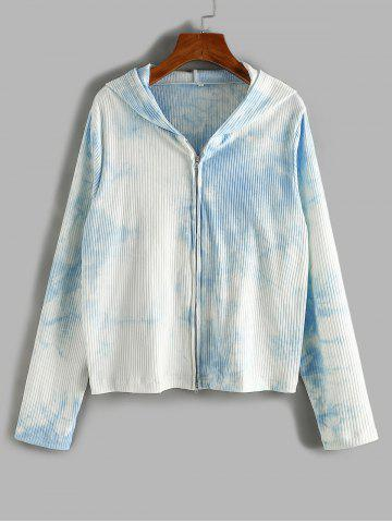 Plus Size Tie Dye Hooded Ribbed Two Way Zip Cardigan - LIGHT BLUE - 5XL