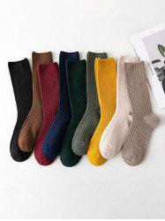 9 Pairs Ribbed Cotton Socks Set -