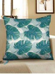 Printed Tropical Leaf Linen Square Pillowcase -