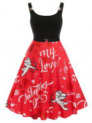 Plus Size Valentine Heart Angel Graphic Midi Backless Dress -