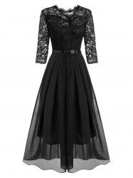 Lace and Chiffon Pleated Detail Floor Length Dress -