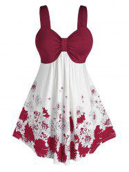 Plus Size Flower Print Bowknot Backless Tunic Tank Top -