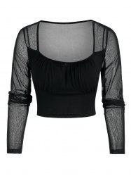 See Through Cropped Mesh Insert Top -