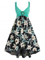 Plus Size Flower Print Ring Ruched Backless Midi Dress -
