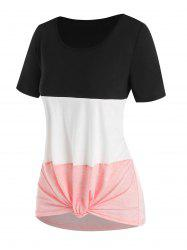 Colorblock Knotted Casual T Shirt -
