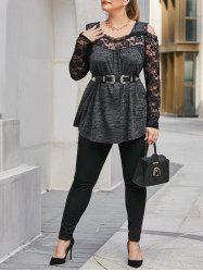 Plus Size Space Dye Lace Cold Shoulder Curved Hem Tee -