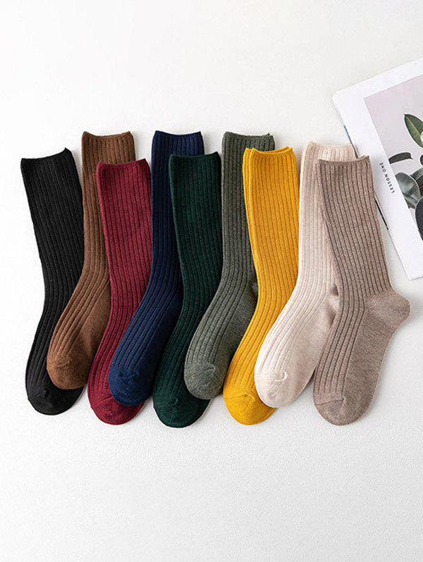 Fancy 9 Pairs Ribbed Cotton Socks Set
