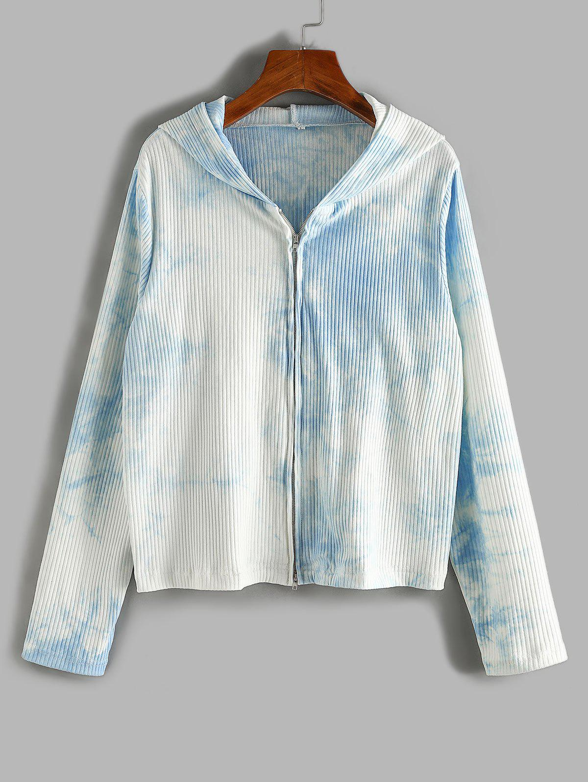 Chic Plus Size Tie Dye Hooded Ribbed Two Way Zip Cardigan